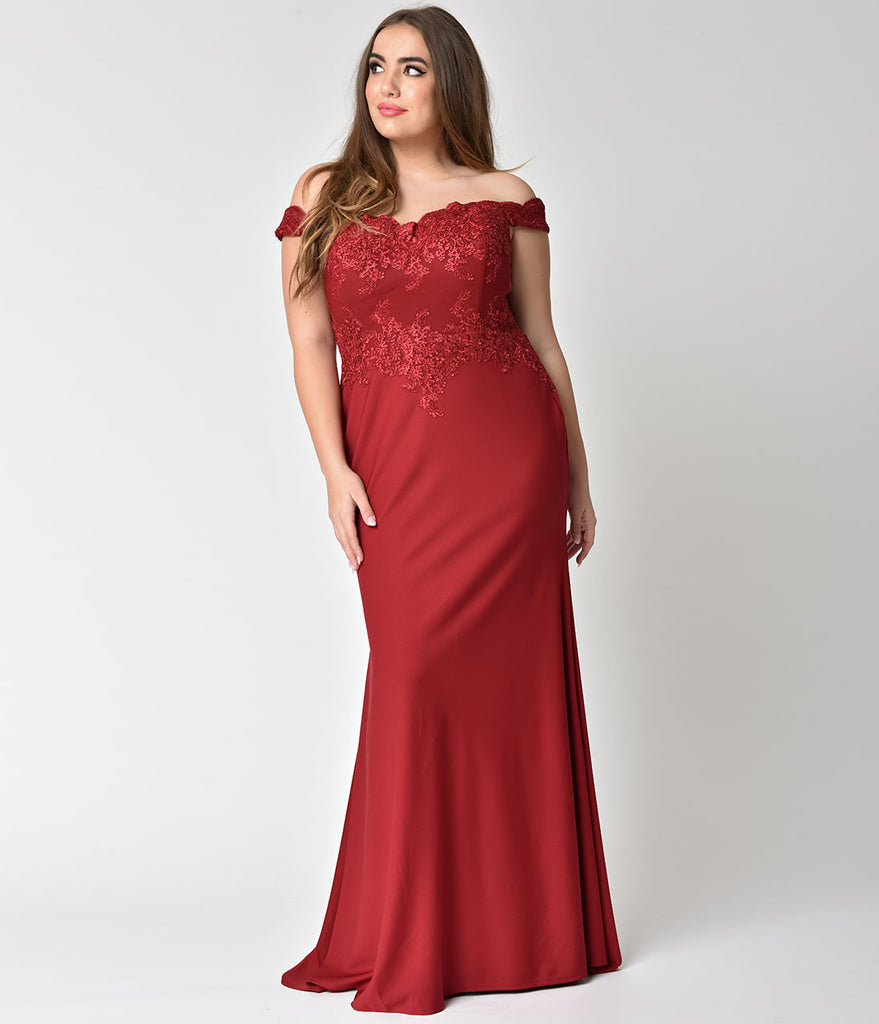 Burgundy Red Beaded Off Shoulder Long Gown – Unique Vintage