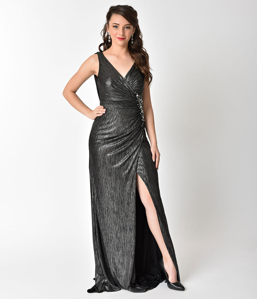 Metallic Black Ribbed Sexy Long Dress