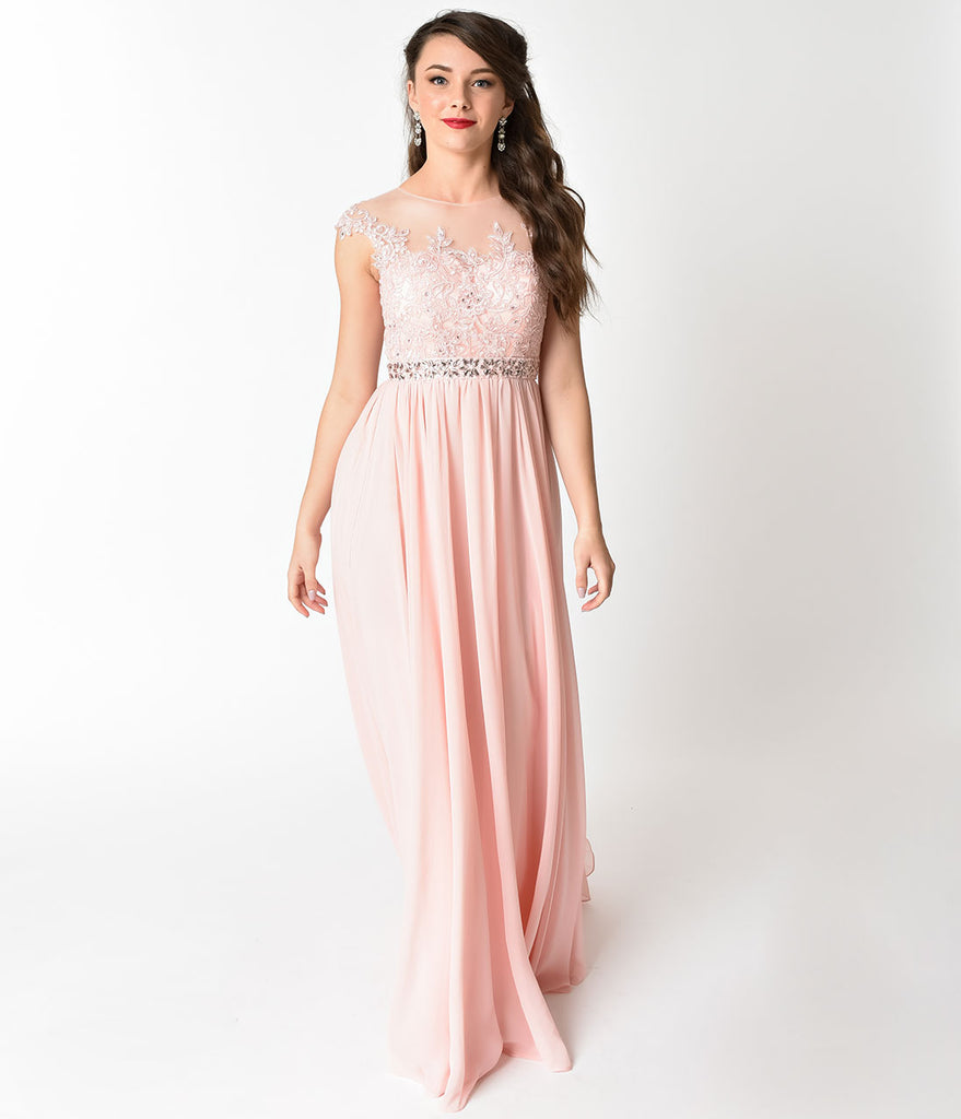 Blush Pink Embellished Lace & Chiffon Cap Sleeve Prom Gown – Unique ...