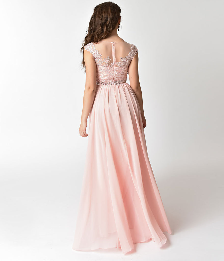 Blush Pink Embellished Lace & Chiffon Cap Sleeve Prom Gown