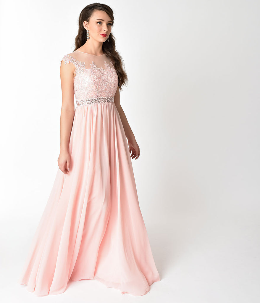 Blush Pink Embellished Lace & Chiffon Cap Sleeve Prom Gown ...