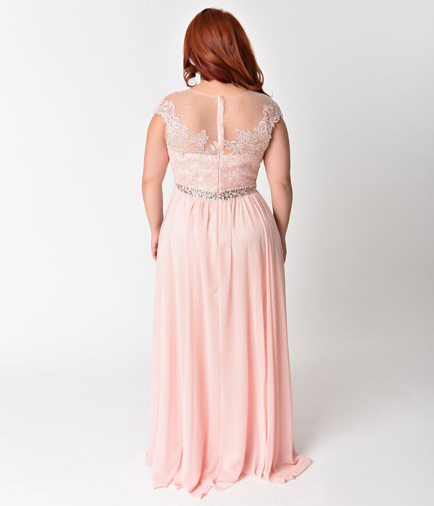 Plus Size Blush Pink Embellished Lace & Chiffon Cap Sleeve Prom Gown