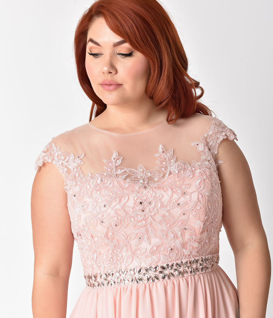 Plus Size Blush Pink Embellished Lace & Chiffon Cap Sleeve Prom Gown ...