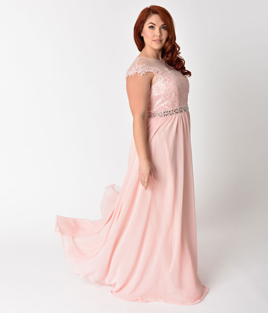 1560a4d374 ... Plus Size Blush Pink Embellished Lace & Chiffon Cap Sleeve Prom Gown ...