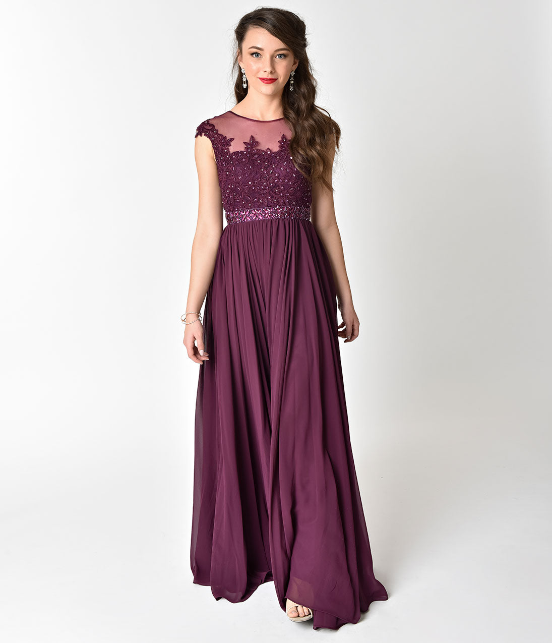 1950s Formal Dresses & Evening Gowns Eggplant Purple Embellished Lace  Chiffon Cap Sleeve Prom Gown $142.00 AT vintagedancer.com
