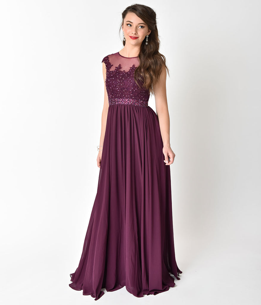 Eggplant Purple Embellished Lace & Chiffon Cap Sleeve Prom Gown