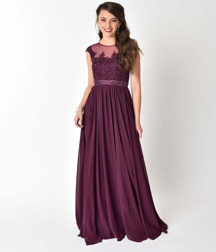 Eggplant Purple Embellished Lace & Chiffon Cap Sleeve Prom Gown ...