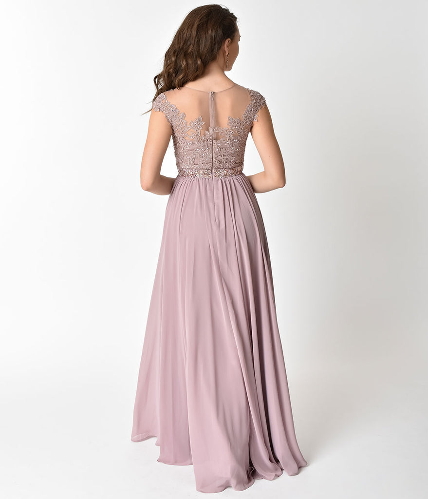 Mocha Embellished Lace & Chiffon Cap Sleeve Prom Gown
