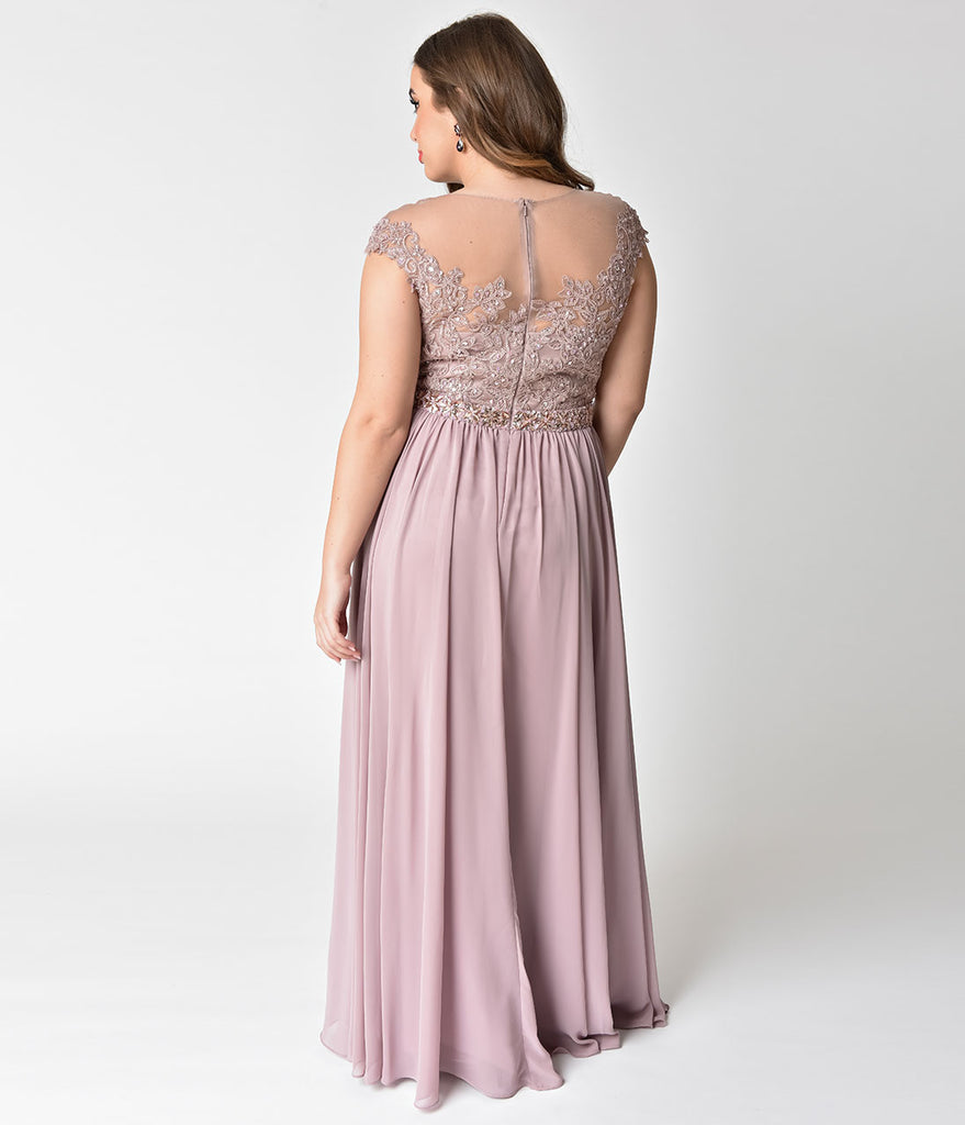 c0f27a8904 ... Plus Size Mocha Embellished Lace & Chiffon Cap Sleeve Prom Gown ...