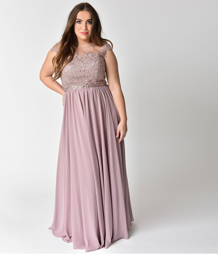 00c67f902f ... Plus Size Mocha Embellished Lace & Chiffon Cap Sleeve Prom Gown