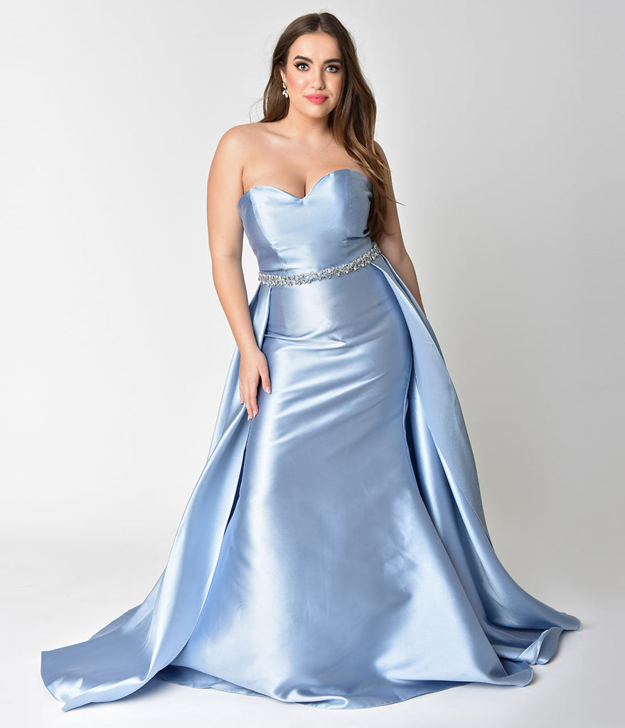 Plus Size Perry Blue Strapless Sweetheart Neckline Satin Prom Gown ...
