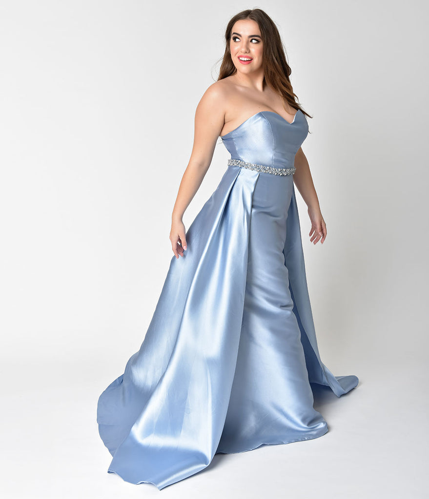 Plus Size Perry Blue Strapless Sweetheart Neckline Satin Prom Gown