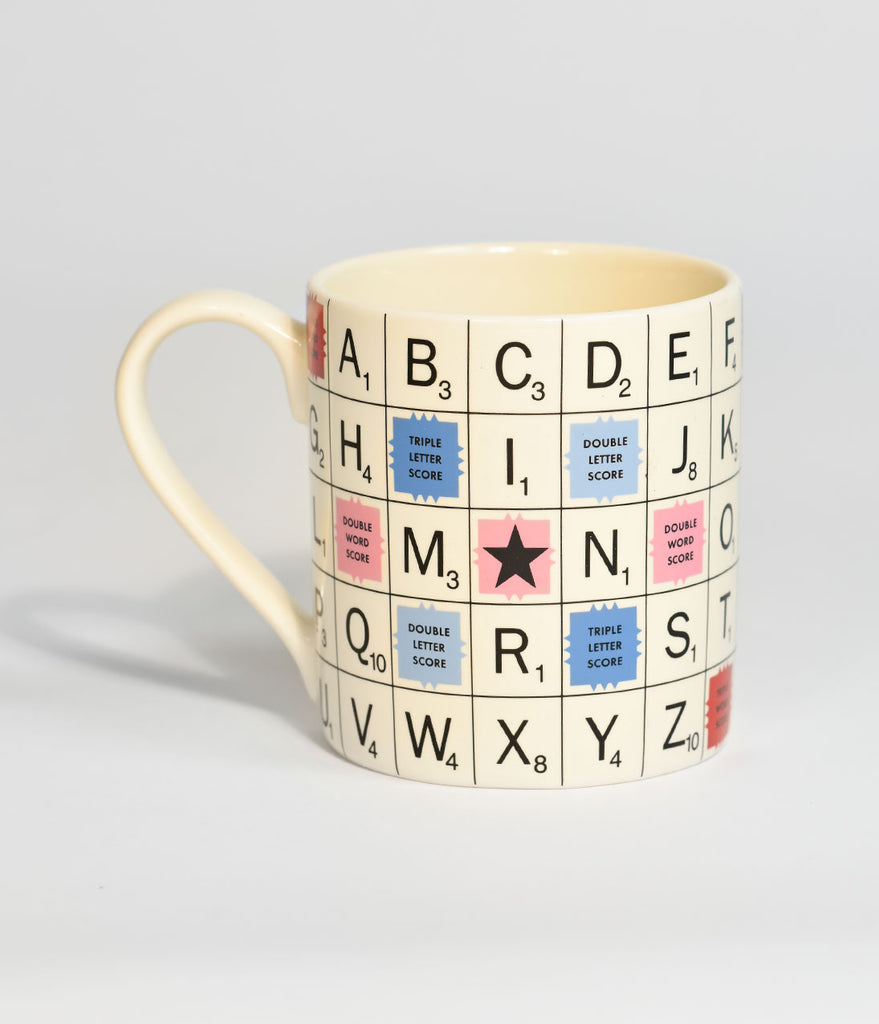 Vintage Inspired Ivory Word Fan Scrabble Board Mug