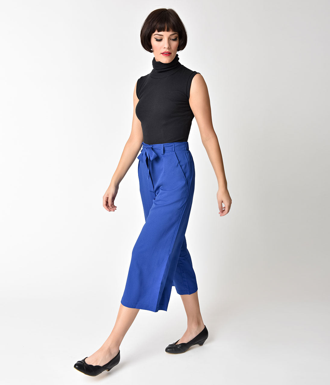 1950s Pants & Jeans- High Waist, Wide Leg, Capri, Pedal Pushers Royal Blue Bow Belt Capri Cut Culotte Pants $38.00 AT vintagedancer.com