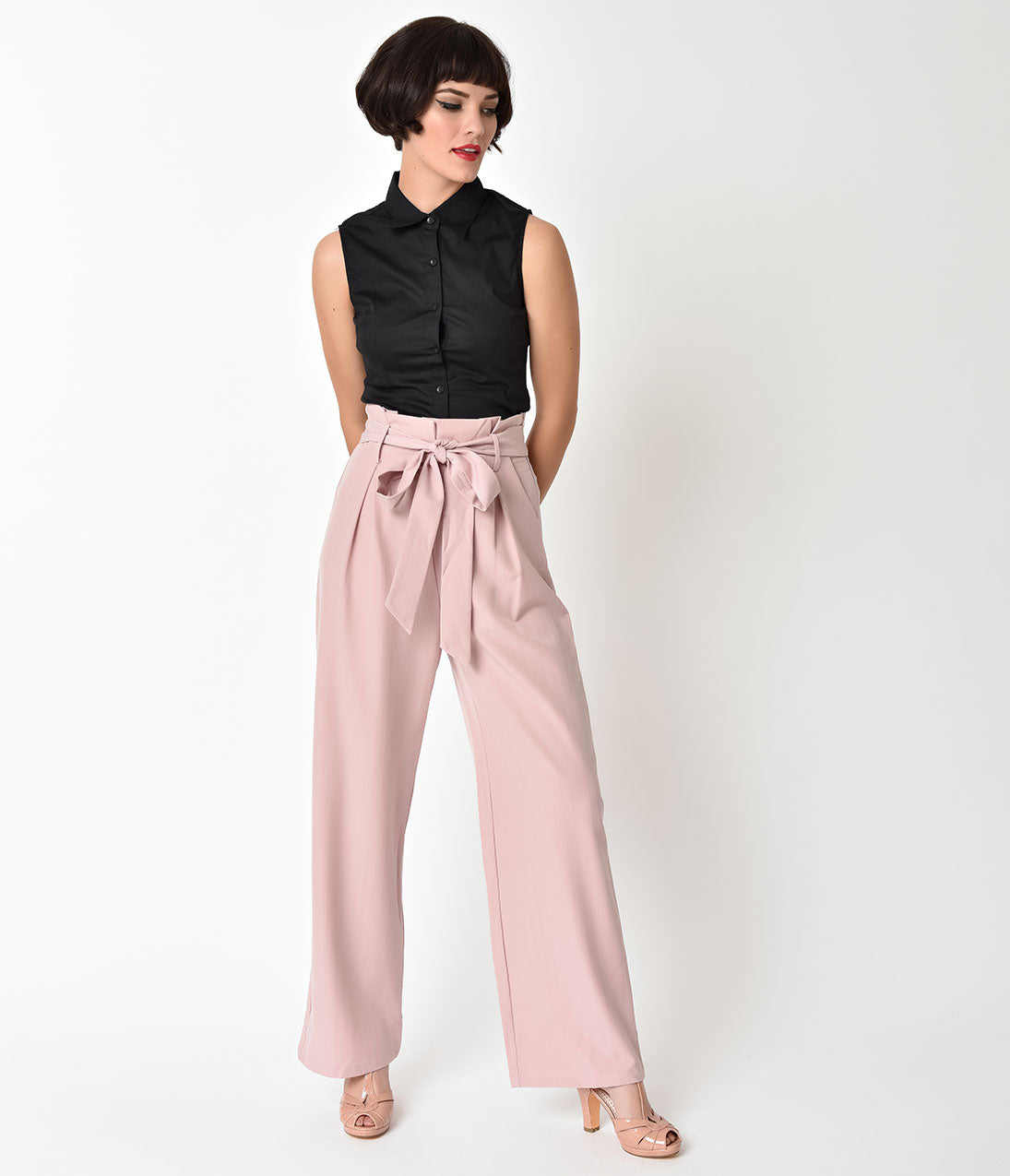 Vintage High Waisted Trousers, Sailor Pants, Jeans 1940s Blush Pink High Waist Wide Leg Trousers $48.00 AT vintagedancer.com