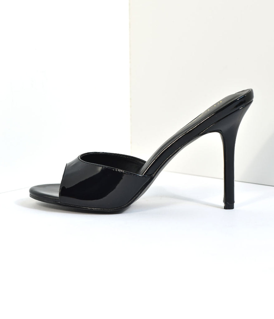 Black Patent Leatherette Peep Toe Slip On Heels