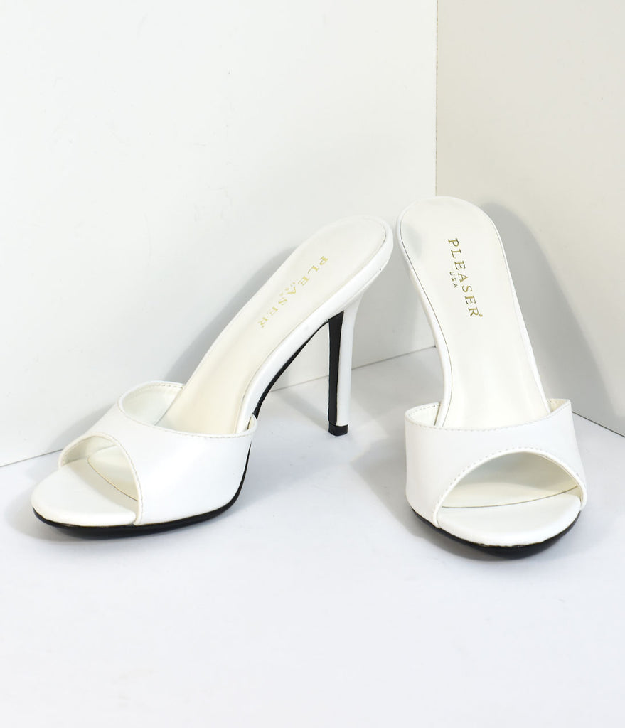 White Matte Leatherette Peep Toe Slip On Heels