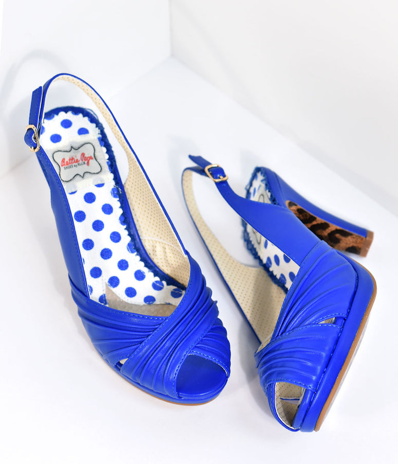 Bettie Page Vintage Style Royal Blue Selene Heels