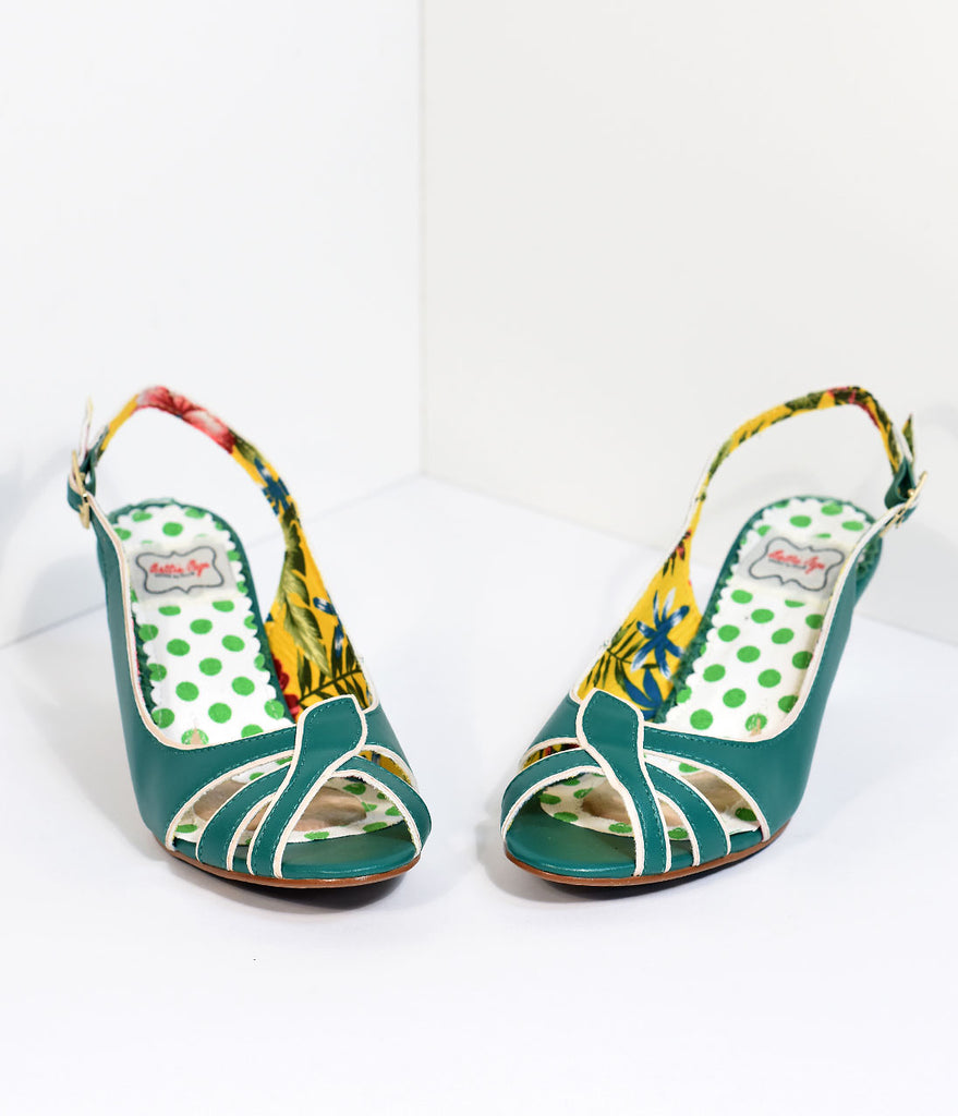 Bettie Page Retro Slingback Green Cara Peep Toe Heels