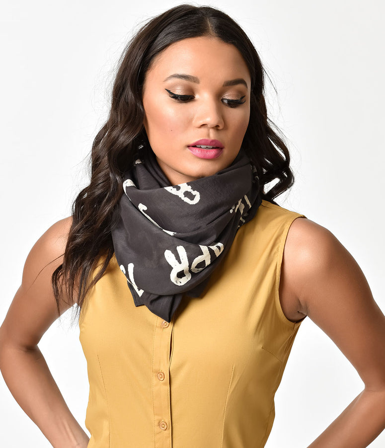 Black & Ivory Library Stamp Cotton Scarf