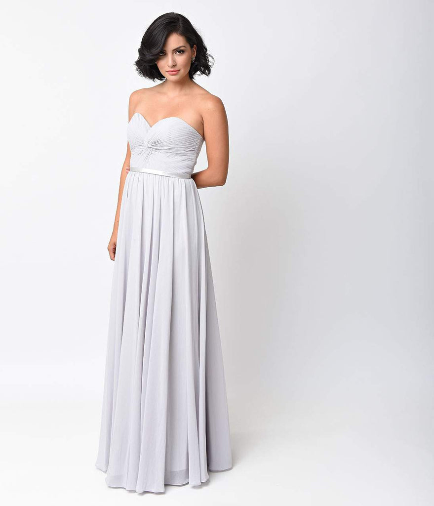 Silver Chiffon Strapless Sweetheart Corset Long Gown
