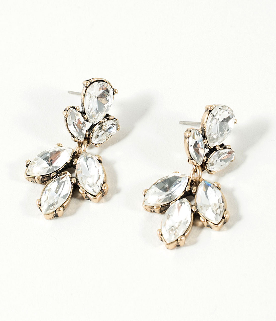 1930s Jewelry | Art Deco Style Jewelry Silver Crystal Rhinestone  Antique Gold Bella Drop Earrings $24.00 AT vintagedancer.com