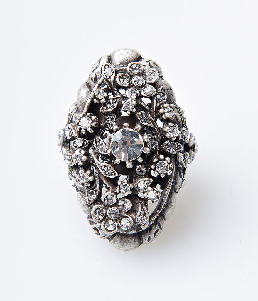Silver & Crystal Trellis Ring
