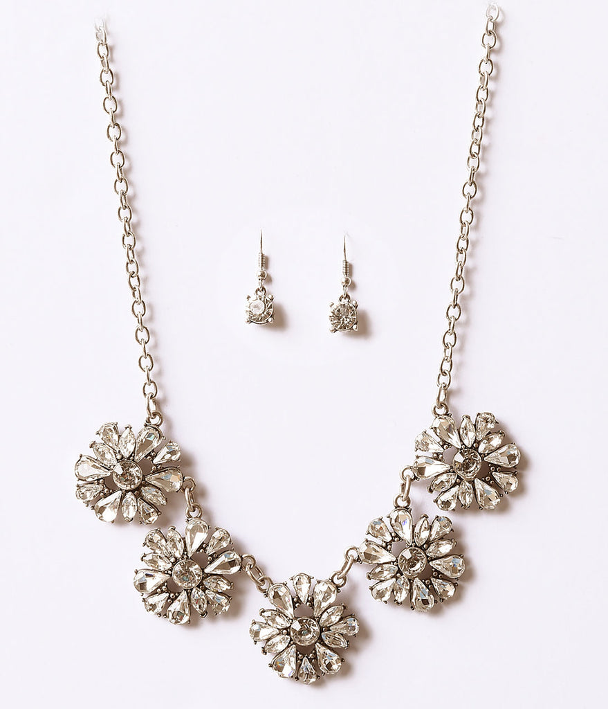 Silver Floral Deco Rhinestone Necklace & Earring Set