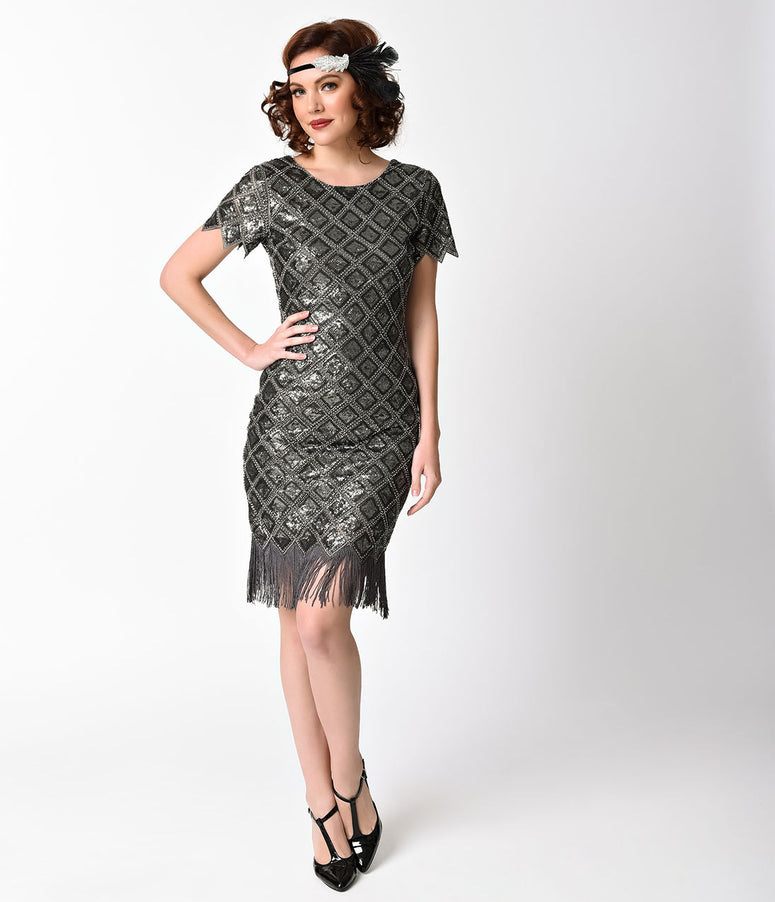 Silver Grey Sequin Lattice Cap Sleeve Fringe Flapper Dress