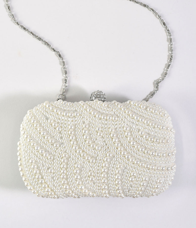 Silver & Ivory Beaded Pearl Top Lock Hard Clutch