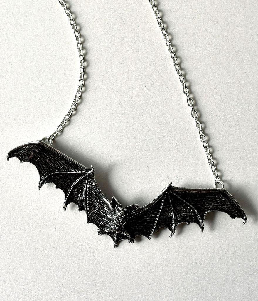 Silver Pewter Gothic Bat Pendant Necklace