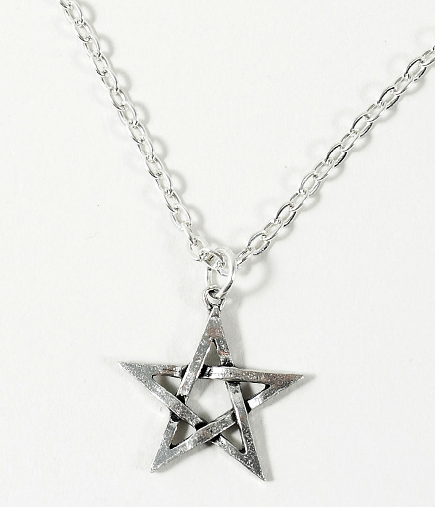 Silver Pewter Pentagram Pendant Necklace