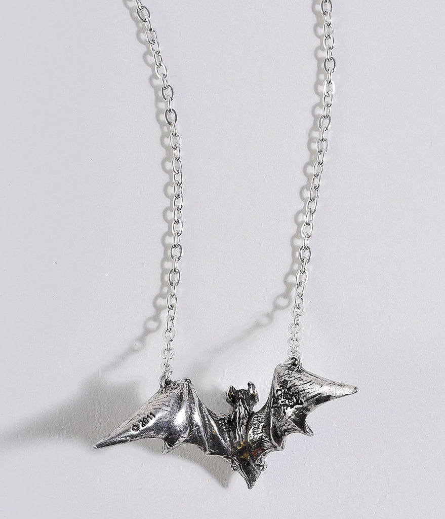 Silver Pewter Vampire Bat Pendant Necklace