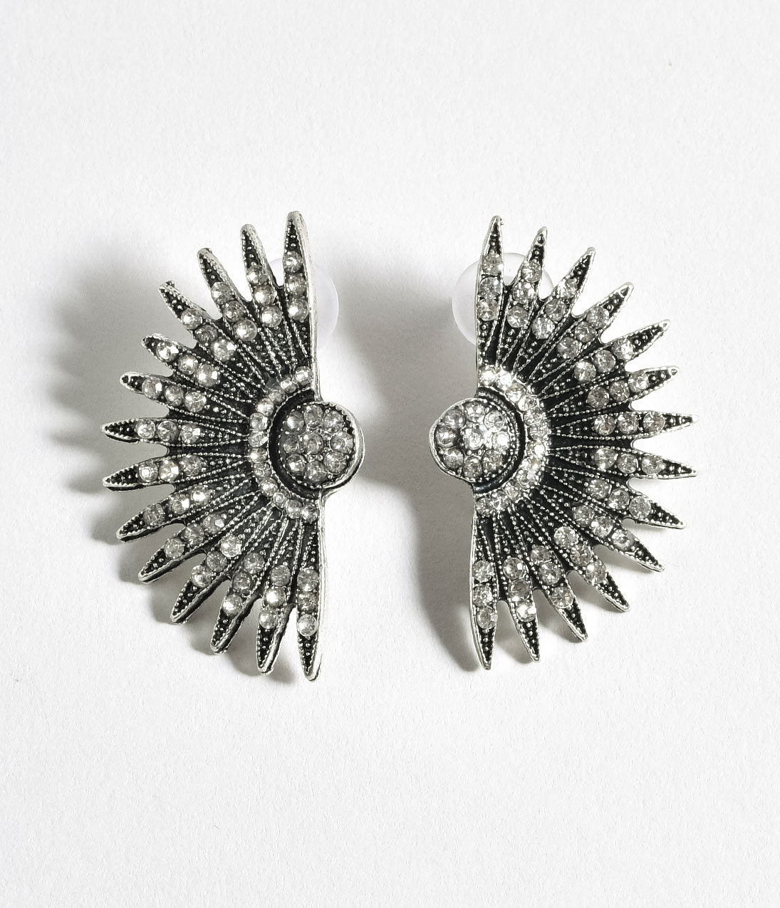 8 Easy 1920s Costumes You Can Make Silver Rhinestone Deco Fan Post Earrings $18.00 AT vintagedancer.com