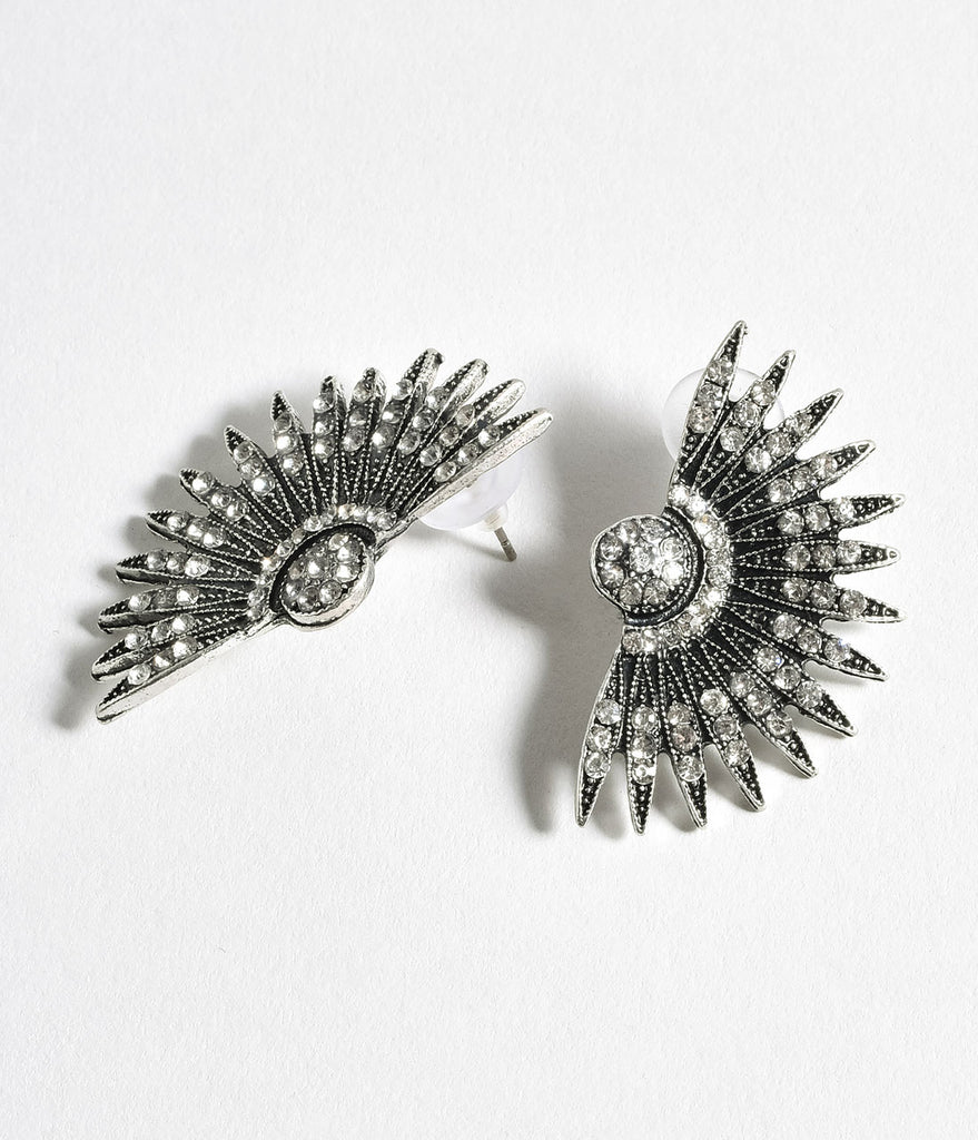 Silver Rhinestone Deco Fan Post Earrings