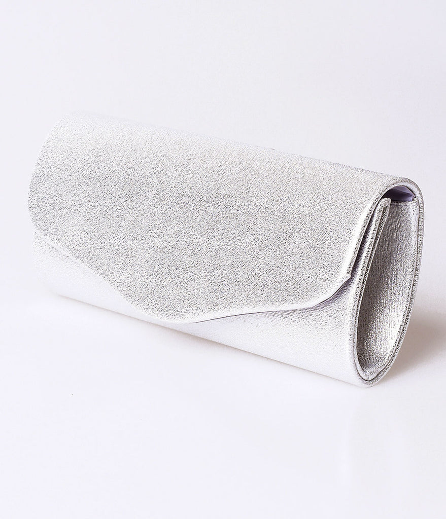 Silver Shimmer Fold Over Clutch