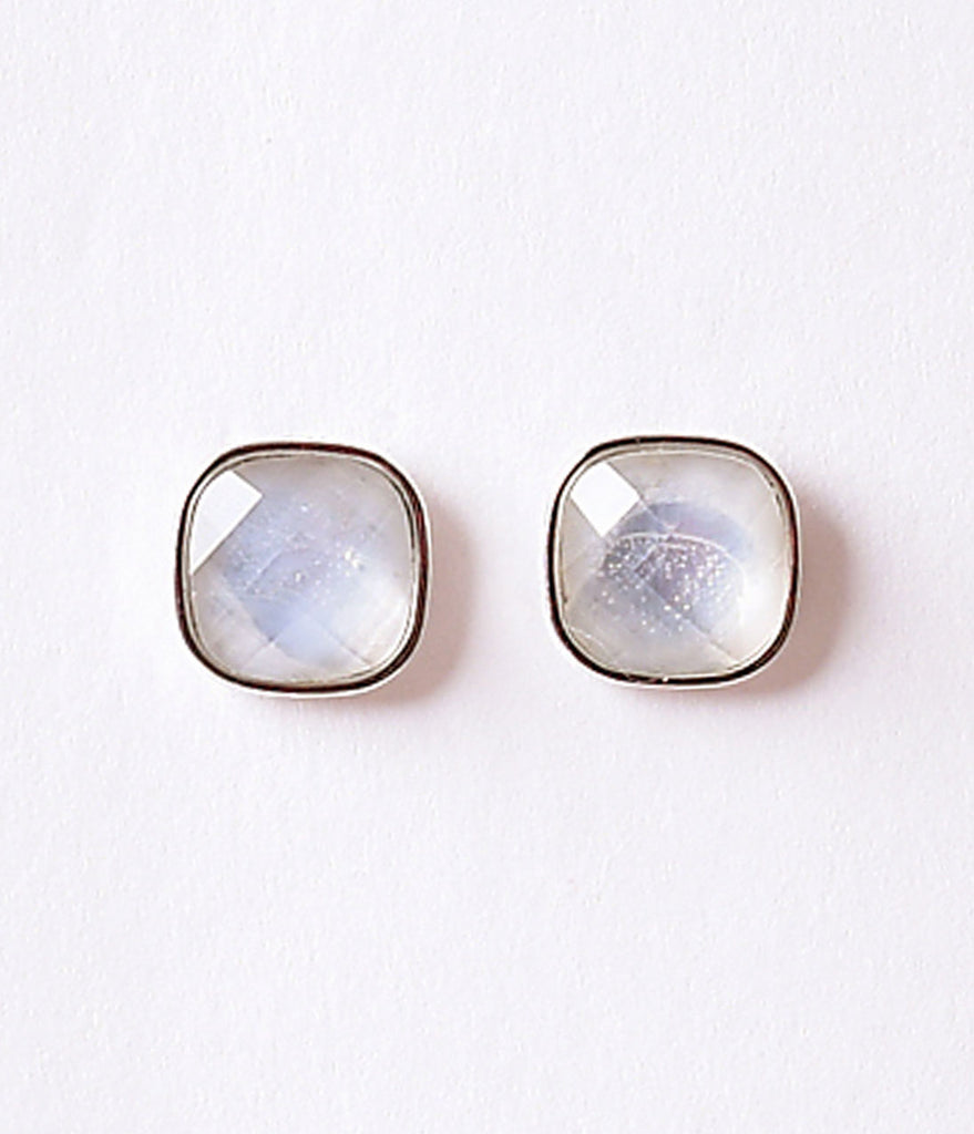 Silver & Smoke Crystal Square Post Earrings