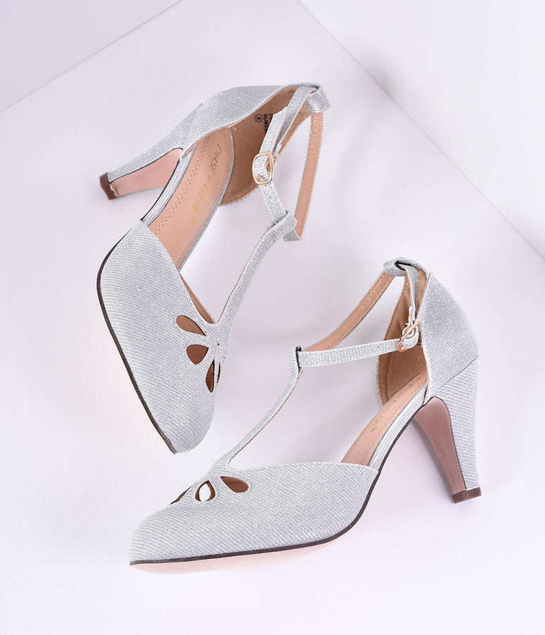 Silver Sparkle Cutout Kimmy T-Strap Heels