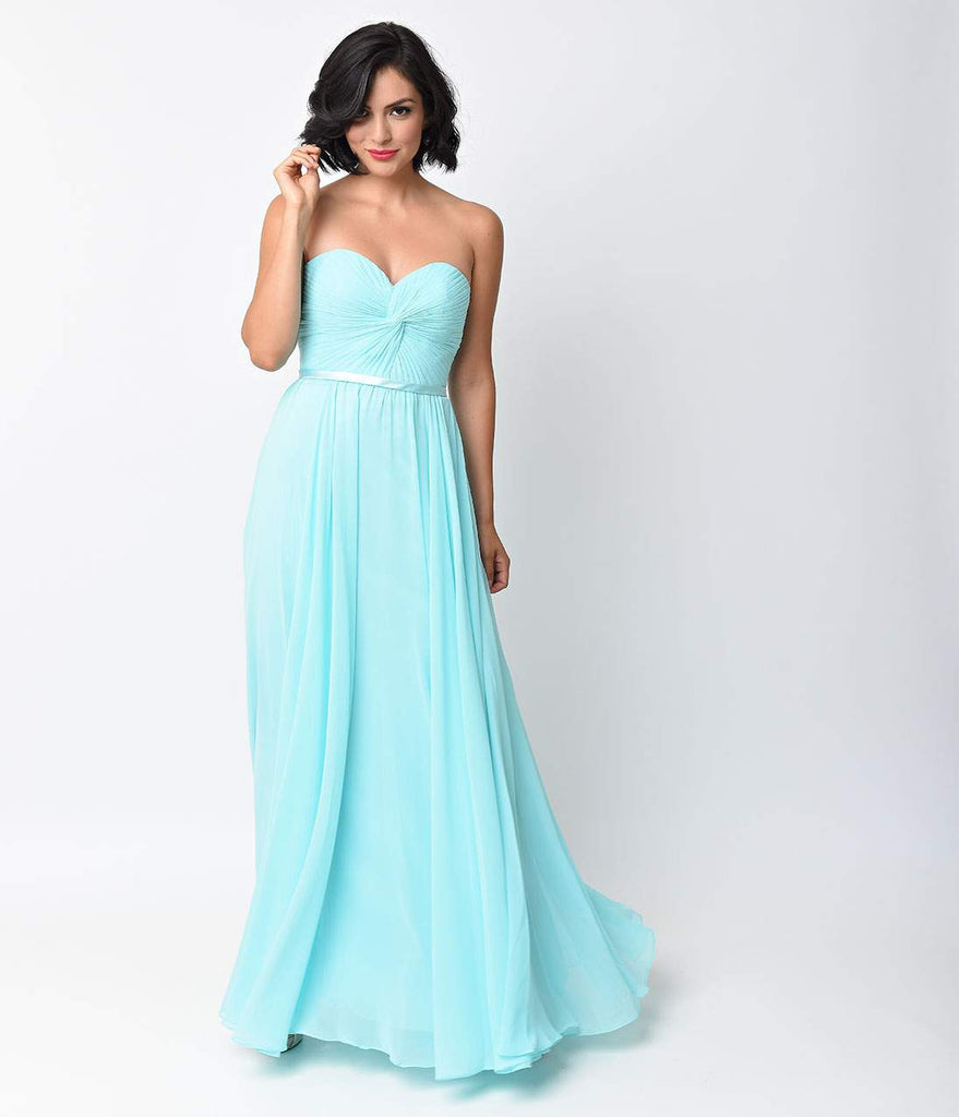 Sky Blue Chiffon Strapless Sweetheart Corset Long Gown