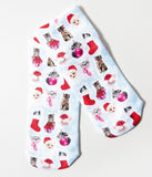 Sky Blue Snowflakes & Christmas Kitties Ankle Socks