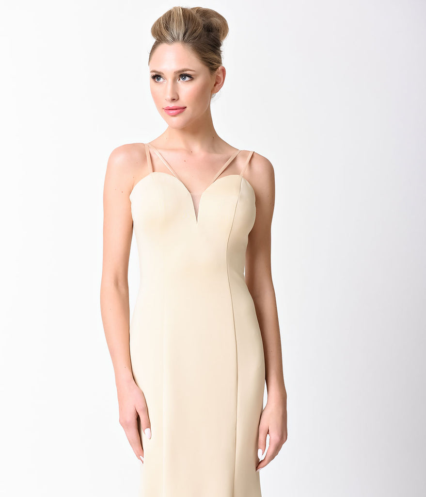Smooth Champagne Spaghetti Strap V-Neck Gown