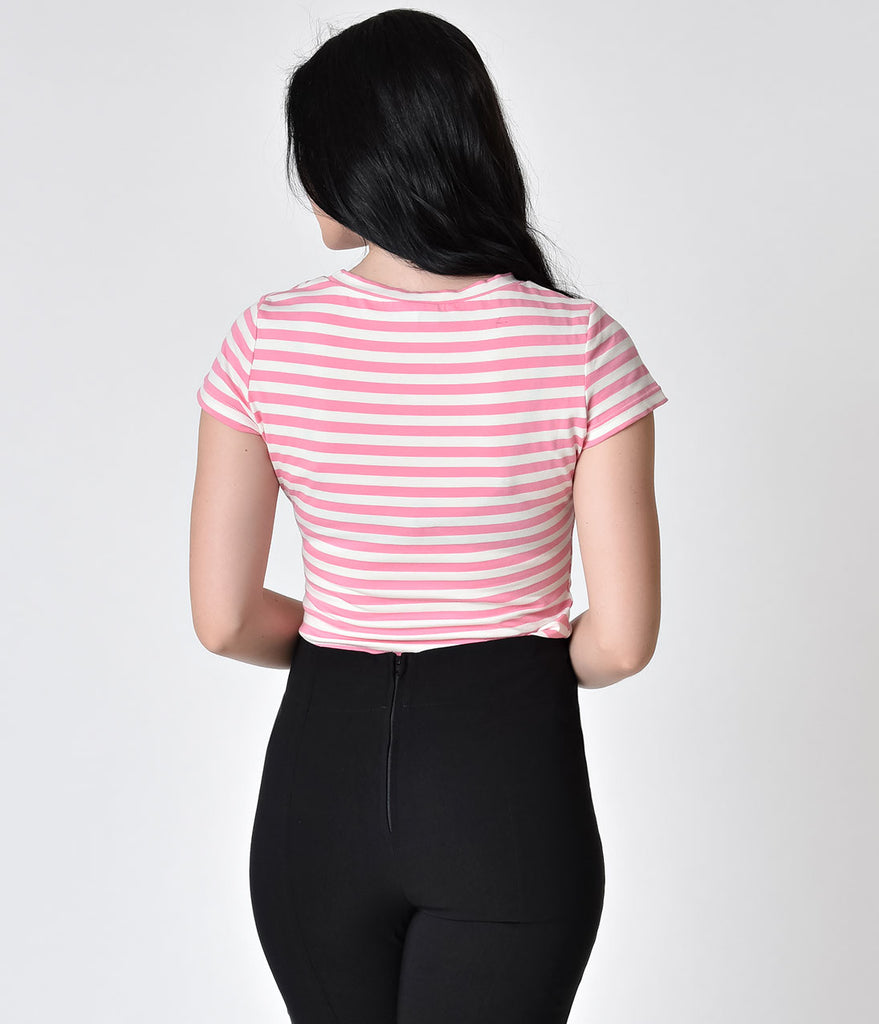 Sourpuss Baby Pink & White Stripe Skull Crew Neck Tee