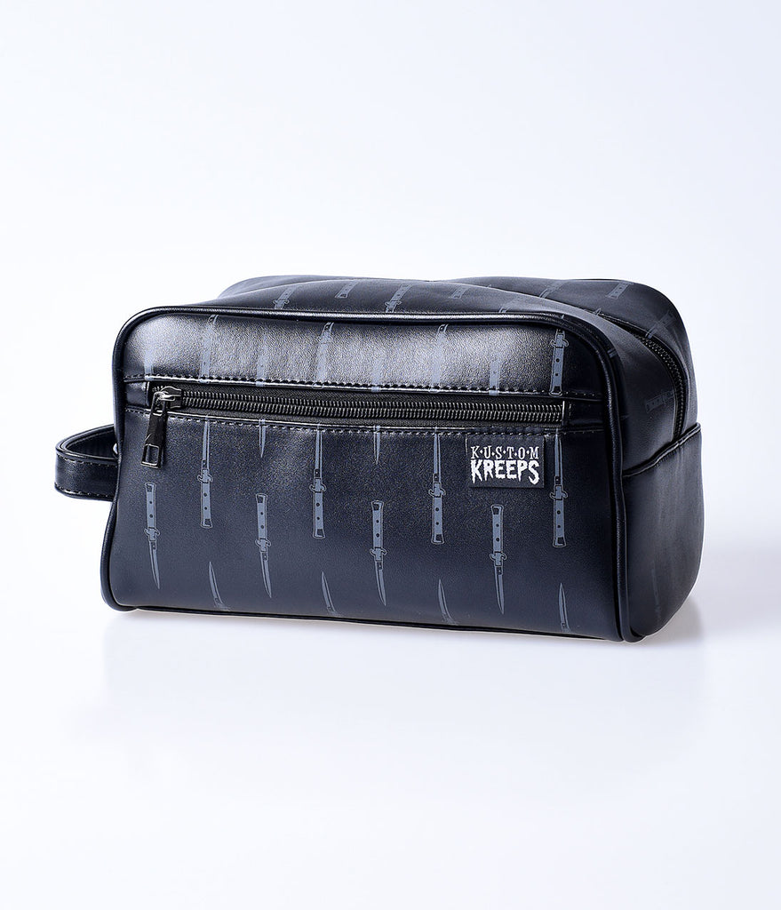 Sourpuss Black Switchblade Print Grooming Bag