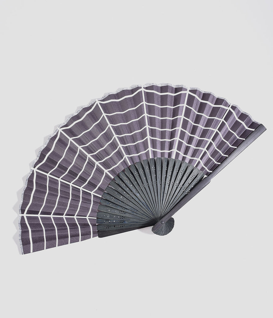 Sourpuss Black & White Spiderweb Hand Fan