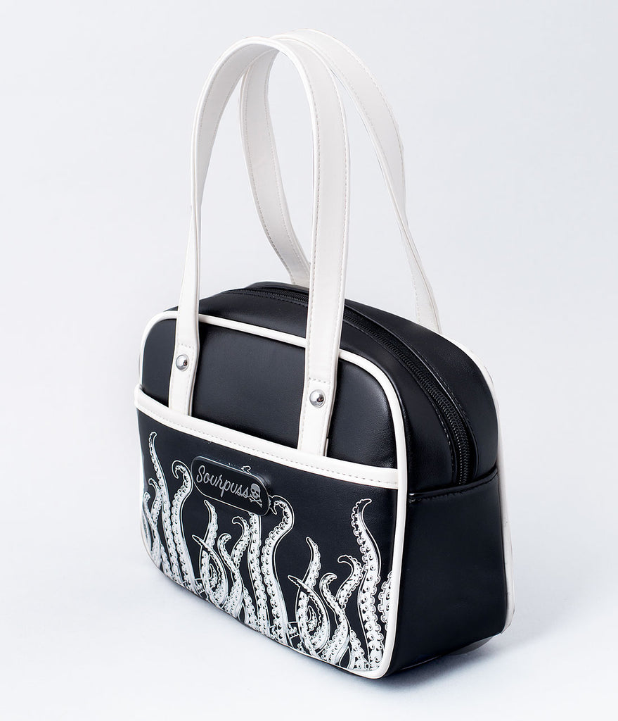 Sourpuss Black & White Tentacles Bowler Purse