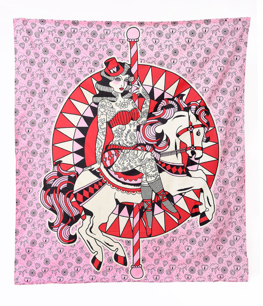 Sourpuss Pink Carousel Horse Tattooed Pin Up Shower Curtain