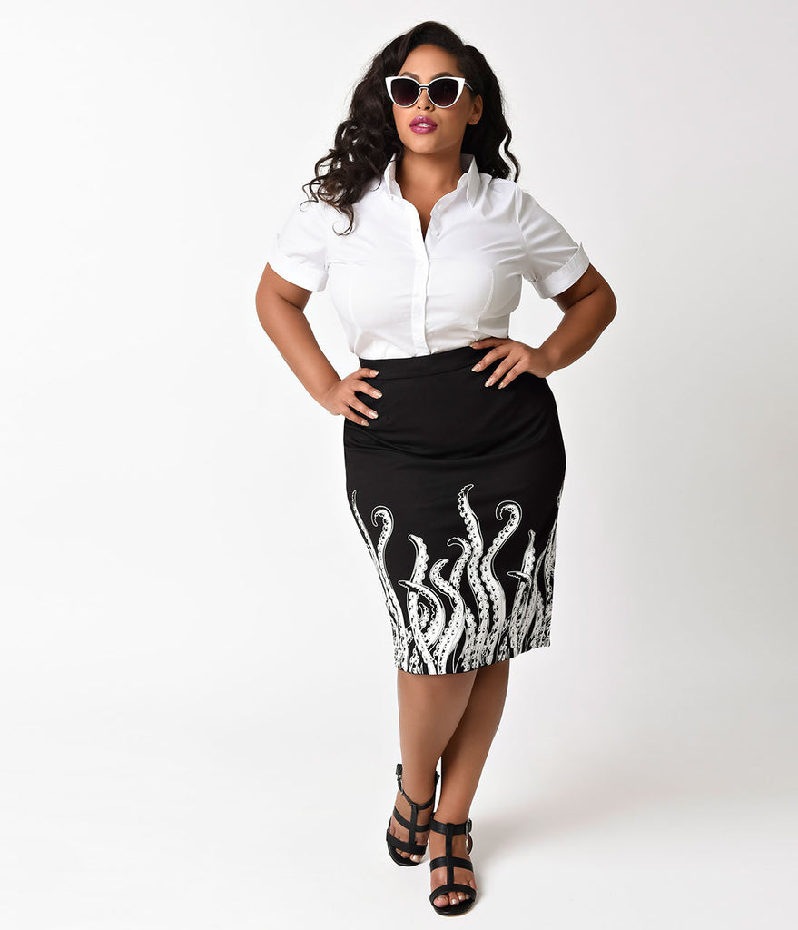 Sourpuss Retro Black & White Tentacle Print High Waist Pencil Skirt