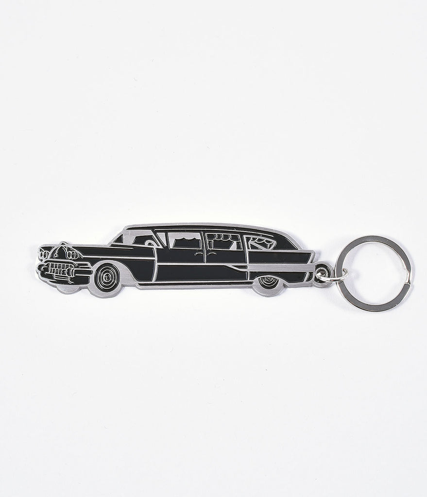 Sourpuss Silver & Black Hearse Key Chain