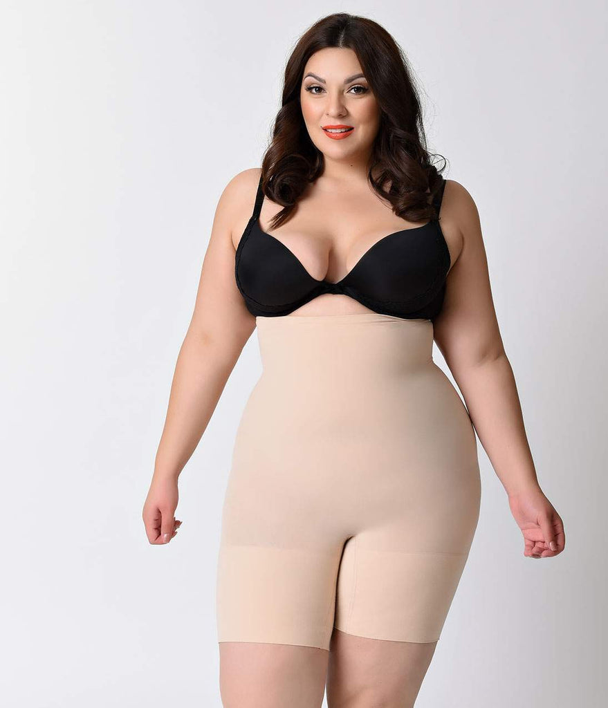 7698730dee4bb Spanx Plus Size Nude Higher Power High Waist Shaper Shorts – Unique Vintage
