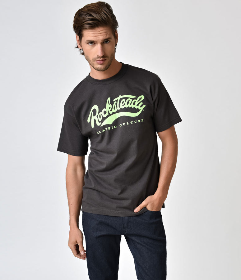 Steady Charcoal Grey & Green Rocksteady Cotton Tee